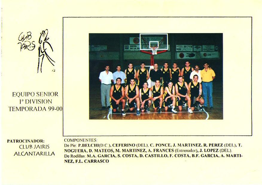 Equipo Senior 1ª División Masculino. Temporada 1999-2000